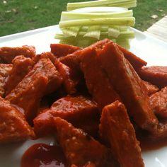 Buffalo Tempeh Wings! #vegan #recipe #EarthBalanceBackToSchool