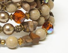 Memory Wire Bangle Bracelet of River Stone Crystals by mostlybeads, $35.00
