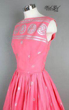 1950's Pink Cotton Tori Richard Summer Dress- M