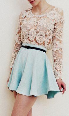 lace + mint skirt
