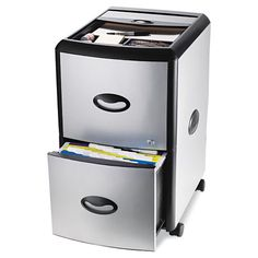 Mobile filing cabinet accommodates letter size files and features an organizational top with compartments for paper clips, pens, or pencils. Drawers can be locked and each has a built-in label holder. Brushed metal sides and front make this perfect for any office.