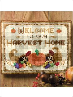 Plastic Canvas - Autumn - Welcome to Our Harvest Home Wall Hanging
