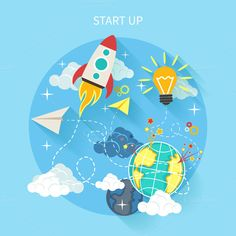 Research Start Up Rocket by robuart on Creative Market