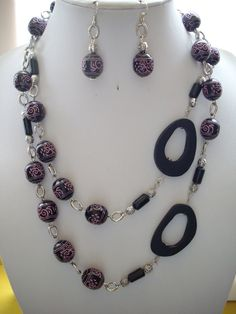 SALE Black Bead with Pink Aztec Carving Buri by DesignsbyPattiLynn, $45.00