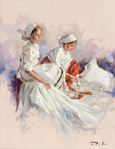 Ricardo Sanz – Preparándose para el baile Óleo sobre lienzo. 65×50 cms.