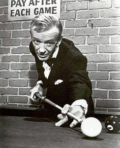 "Fred Astaire—Owner of four Brunswick tables located in the basement of his home, the so-called, ""Pool Wizard,"" had a very likeable personality and enjoyed playing the game with just about anybody.:"