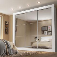 Guarda-Roupa Casal 3 Portas com Espelho Campos Plus Madesa Branco