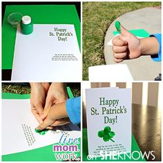 Thumbprint Shamrocks for St. Patrick's Day! St. Patrick's Day DIY Card.