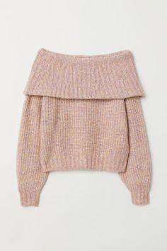 Off-the-shoulder Sweater - Light pink melange - Ladies Winter Mode Outfits, Winter Fashion Outfits, Sweater Fashion, Trendy Fashion, Fashion Fall, Affordable Fashion, Crop Top Outfits, Cute Casual Outfits, Girls Fashion Clothes