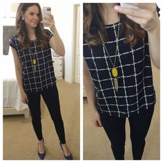 Stitch Fix Stylist: LOVE this Navy Grid Print Top because it is loose but not huge and has cap sleeves for work on spring/summer. Pattern is simple.