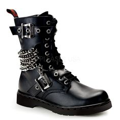 Buckle n Chain Combat Boots