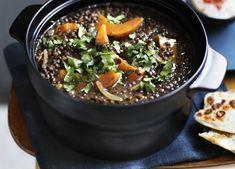 Brigitte Hafner: Green lentil soup with pumpkin and harissa recipe - Green Lentil Soup, Green Lentils, Freezer Friendly Meals, Preserved Lemons, Pumpkin Soup, Carrots, Middle, Vegetarian, Cooking