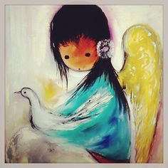 "DeGrazia's signature work is paintings and illustrations of 'angel-like' Southwest children. ""Angel with a Dove"", oil on canvas."
