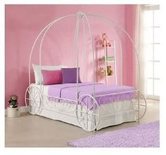 #Priceabate GIRLS PRINCESS CARRIAGE CANOPY BED TWIN WHITE METAL FRAME BEDROOM FURNITURE KIDS - Buy This Item Now For Only: $269.99