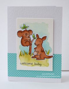 InvisiblePinkCards: Handmade Welcome Baby card using LawnFawn Critters Down Under, watercolouring using Tim Holtz Distress Inks and some Let's Polka paper.