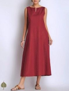Dark Red Sleeveless Cotton Dress/Kurta by Jaypore Fancy Dress Shops, Fancy Dress Outfits, Casual Summer Dresses, Linen Dress Pattern, Dress Patterns, Kurta Designs Women, Blouse Designs, Linen Dresses, Cotton Dresses