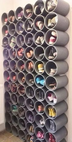 Ideas craft storage organization diy life hacks for 2019 Shoe Storage Diy, Diy Shoe Rack, Creative Storage, Wall Storage, Craft Storage, Storage Ideas, Bedroom Storage, Closet Storage, Shoe Racks