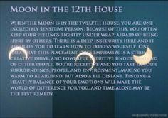 Natal Chart placement: Moon in the 12th house.