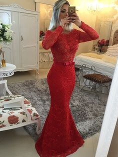 2016 New Styles! Royal Red Lace Long Prom Dresses!  100% Handmade Service!