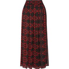 Alice + Olivia Kamryn printed chiffon maxi skirt ($655) ❤ liked on Polyvore featuring skirts, red, long red skirt, flower maxi skirt, floral maxi skirt, draped maxi skirt and long floral skirts