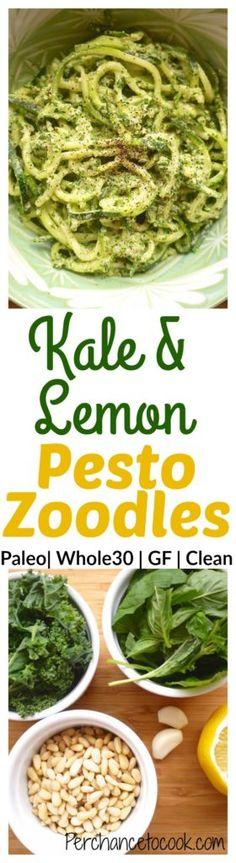 Kale and Lemon Pesto Zoodles (paleo, GF, dairy-free)   Perchance to Cook, www.perchancetocook.com