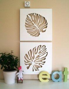 55 Simple and Creative DIY Wall Art Ideas for Decoration Design # Stencil Patterns, Stencil Art, Stencil Designs, Leaf Stencil, Stenciling, Leaf Wall Art, Diy Wall Art, Wall Decor, Diy Wand