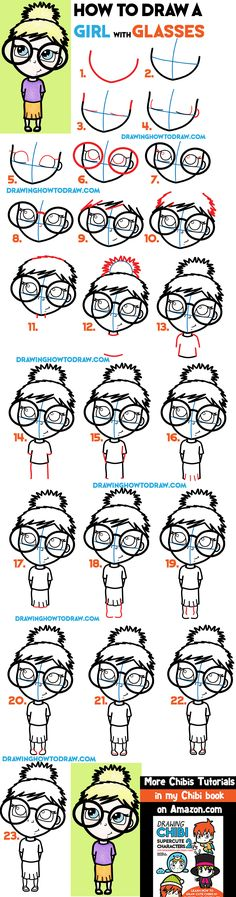 How to Draw a Cute Girl with Glasses Illustration - Easy Steps Drawing Tutorial for Beginners - How to Draw Step by Step Drawing Tutorials Drawing Lessons For Kids, Drawing Tips, How To Draw Steps, Learn To Draw, Cartoon Drawings, Cute Drawings, Cute Girl With Glasses, Cartoon Glasses, Drawing Tutorials For Beginners