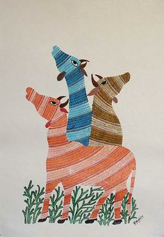 Gond painting, 'Sacred Cows' by NOVICA