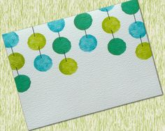 Personalized Dangling Blue Green Watercolor Spheres Note Cards Set of 6 by OlivineStationery on Etsy