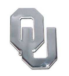 University of Oklahoma Open Logo Silver Chrome Auto Emblem is for the University of Oklahoma or NCAA, Oklahoma Sooners sports fan made of solid chrome with large open face University of Oklahoma logo.