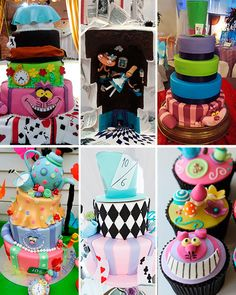 PASTEL DE CUMPLEAÑOS Mad Hatter Party, Mad Hatter Tea, 15th Birthday, Baby Birthday, Alice In Wonderland Tea Party Birthday, Colorful Party, Cookie Designs, I Party, Cupcake Cakes