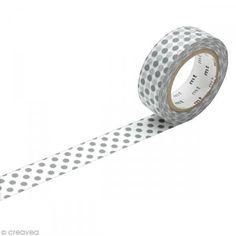 Masking Tape - Pois Gris - 15 mm x 10 m - Photo n°1