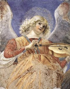 """Melozzo, da Forli (1438-1494) Music-making Angel Date: ca. 1480 Movement: Renaissance (Early Italian, """"Quattrocento"""") Technique: Fresco Museum: Vatican Pinacoteca Location: Vatican City, Italy"""
