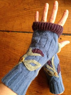 Felted Wool Fingerless Texting Gloves by danamurphydesigns on Etsy, $28.00