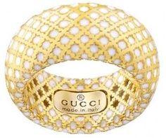 GUCCI DIAMANTISSIMA LIGHT Ring GIALLO SMALTO BIANCO Size 55
