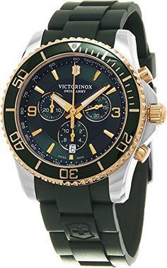 Victorinox Swiss Army Men's Victorinox 241694 Green Silicone Swiss Quartz Watch *** Visit the image link more details.