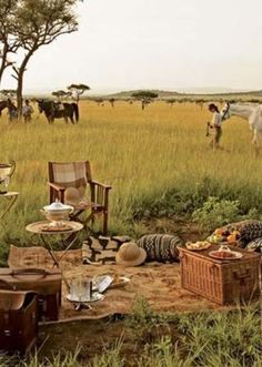 picnic in Serengeti National Park, Tanzania Picknick im Serengeti Nationalpark, Tansania Out Of Africa, East Africa, Safari Photo, Safari Chic, Jungle Safari, Campaign Furniture, Serengeti National Park, British Colonial Style, Game Reserve
