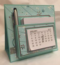 Ein Tischkalender mit Notizzetteln und Stift. Stampin Up  Melanie@Stempelengel.de
