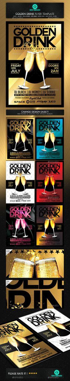 Gold Drink Champagne Flyer Template PSD #design Download: http://graphicriver.net/item/gold-drink-champagne-flyer-template/14448198?ref=ksioks