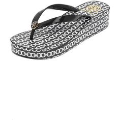 4c3261bfaf3101 Tory Burch Wedge Flip Flops ( 65) ❤ liked on Polyvore featuring shoes