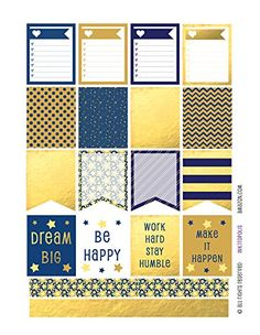 Monthly Planner Stickers Blue and Gold Tone Boxes & Strips Stickers Planner Labels Compatible with Erin Condren Vertical Life Planner
