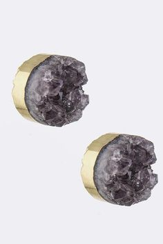 Gold Framed Semi Precious Amethyst Stone Stud Earrings - SALE!