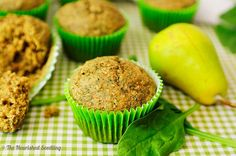 The Nourished Seedling | Spinach & Pear Oat Muffins  - Spinach and pear, with a hint of cinnamon, make up a tasty combination for this muffin.  Packed with nutrients - from the fruits, veggies, flax seed, coconut oil, oats and whole wheat flour – this is one healthy start to the day! #kids #nutfree #dairyfree