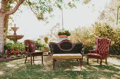 Dreamy Green Wedding at Falkner Winery in the Temecula Hills Wedding Lounge, Wedding Chairs, Reception Seating, Wedding Seating, Victorian Sofa, Barolo Wine, Temecula Wineries, Wine Case, Vintage Sofa