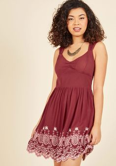 Flare Maiden Floral Dress in Border   Mod Retro Vintage Dresses   ModCloth.com  Oh sweet stylista, how lovely you look in this burgundy fit and flare dress! Pinched at the shoulders and bodice, this woven frock's retro silhouette, secret pockets, and white border embroidery could inspire endless sonnets.