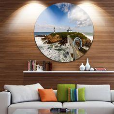 Designart 'Bright Illa Pancha Lighthouse' Seashore Photo Disc Metal Wall Art