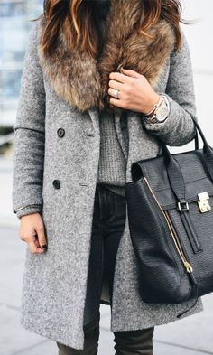 #winter #fashion / faux fur shearling coat