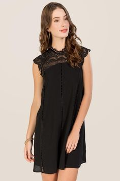 Torin Crochet Neckline Shift Dress