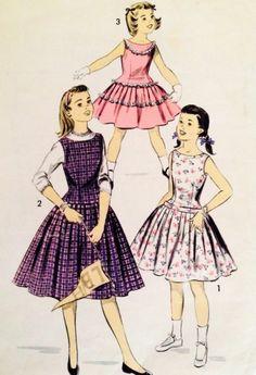 1950's Vintage Girl's Sleeveless Ruffles Party Dress Advance Sewing Pattern