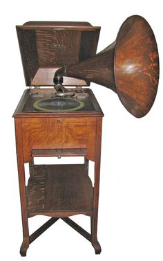 Floor model Victrola with horn ***Research for possible future project.